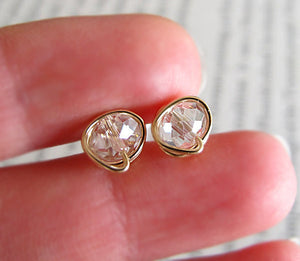 Crystal Quartz Studs - 14k Gold Filled Earrings