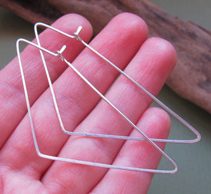 Triangle Earrings - Handmade Sterling Silver Hoops