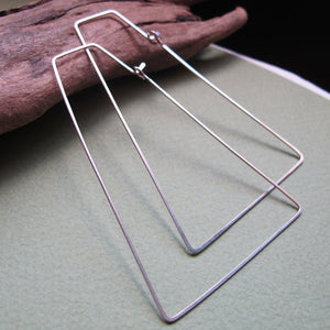 Trapeze Sterling Silver Hoop Earrings