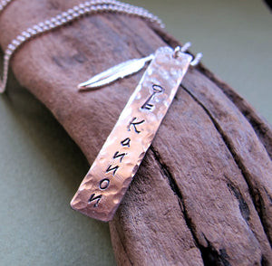 Feather Charm Hand Stamped Tag Necklace