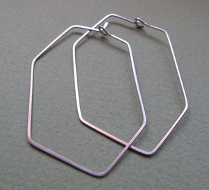 Hexagon Geometric Sterling Silver Hoops