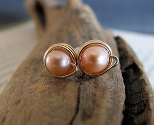 Wire Wrapped Pearl Studs