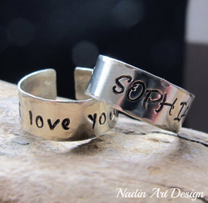 Engraved Band Ring - Custom Silver rings