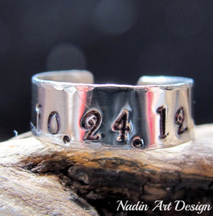 Hammered custom band ring