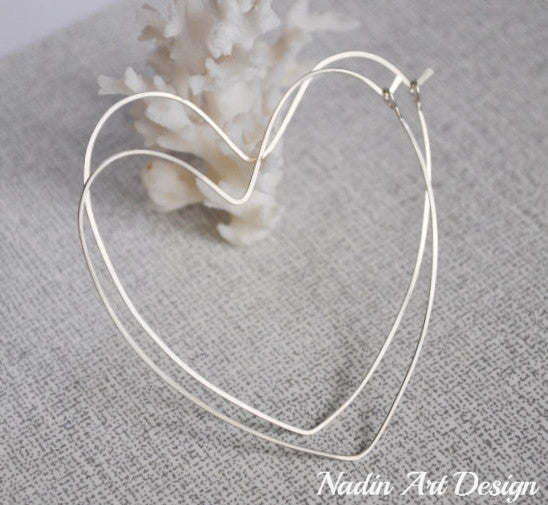 Heart Sterling Silver Hoop Earrings