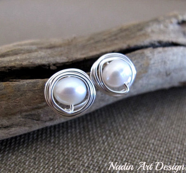 Silver wrapped pearl studs