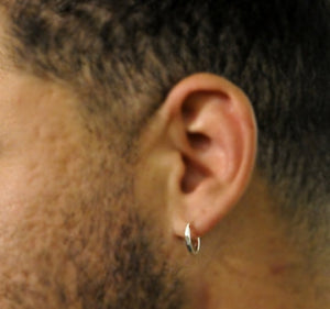 Mens Hoop Earrings - Sterling Silver Mens Earrings
