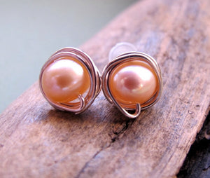 Peach Pearl Studs - Bridal Earrings
