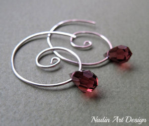 Purple Crystal Swirl Earrings