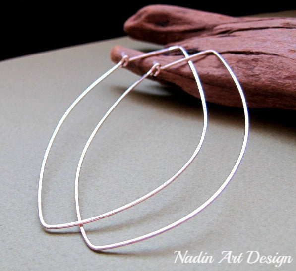 Long silver hoop earrings
