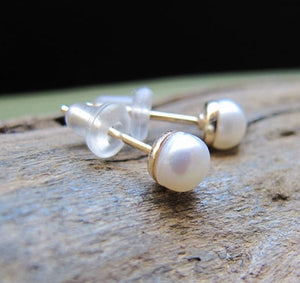 Wedding Jewelry - Pearl Stud Earrings in 14K Gold Filled