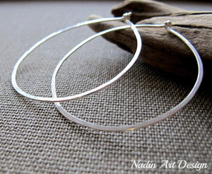 Sterling Silver Flat Hoop Earrings