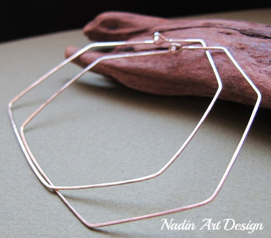 Sterling Silver Freeform Angular Hoop Earrings