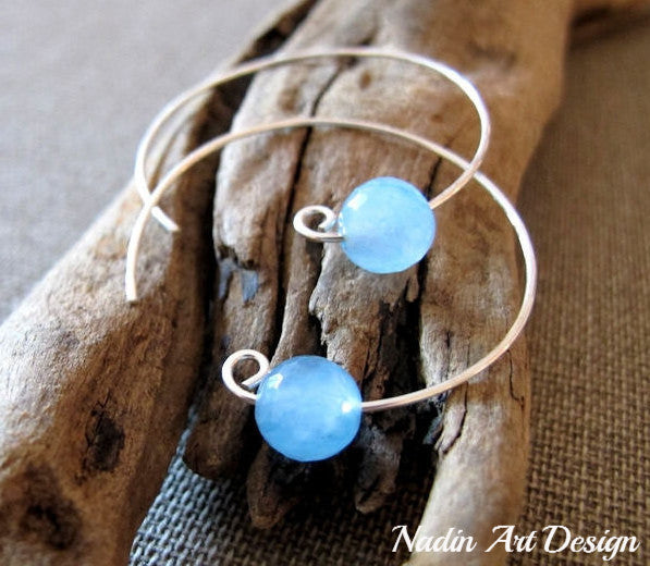 Blue gems silver hoop earrings
