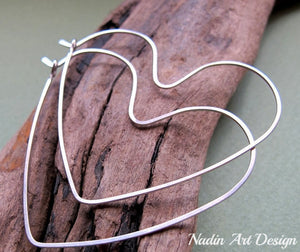 Silver big heart earrings