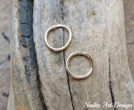 Small catchless endless hoop earrings