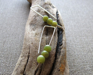 Sterling Silver Earrings w/h Green Stone Beads