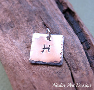 Custom engraved initial square tag