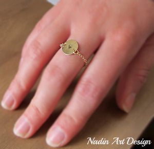 Initial gold chain ring