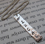 Stainless Steel Hand Stamped Mens Necklace