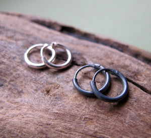Black Huggie Hoops for Men