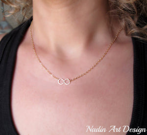 Infinity pendant gold necklace