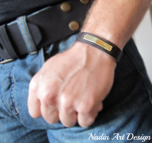 Leather cuff bracelet with nameplate