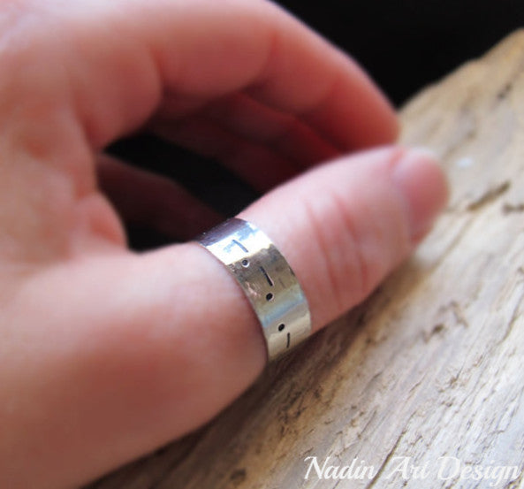 custom engraved wide steel band ring