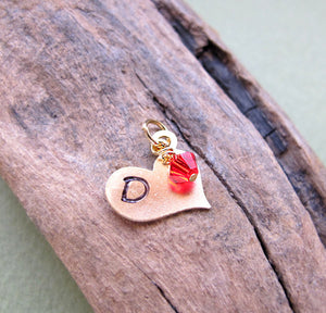 Gold Heart Charm with Birthstone
