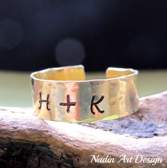 Custom Initials Ring - Engraved Gold Band