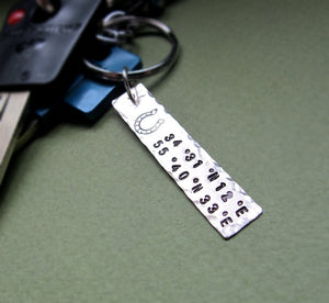 Personalized Coordinates Key Chain Charm