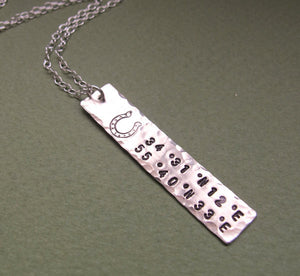 Hand Stamped Personalized GPS Pendant Necklace