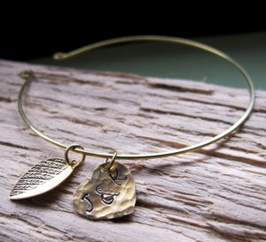Gold Initial Leaf, Heart Charms Bangle Bracelet