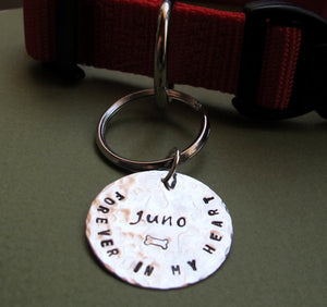 Hand Stamped Name ID Tag Keychain Charm