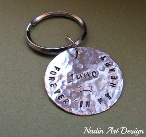 Hammered custom charm keychain