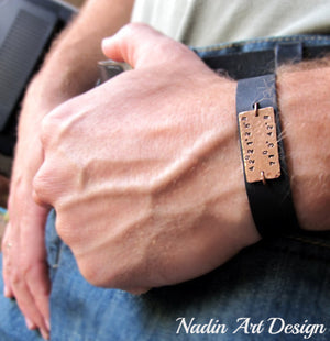 custom leather mens bracelet - Mens Engraved Copper bracelet - Mens Gift