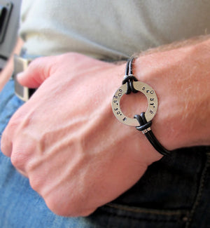 Personalized Black Leather Bracelet