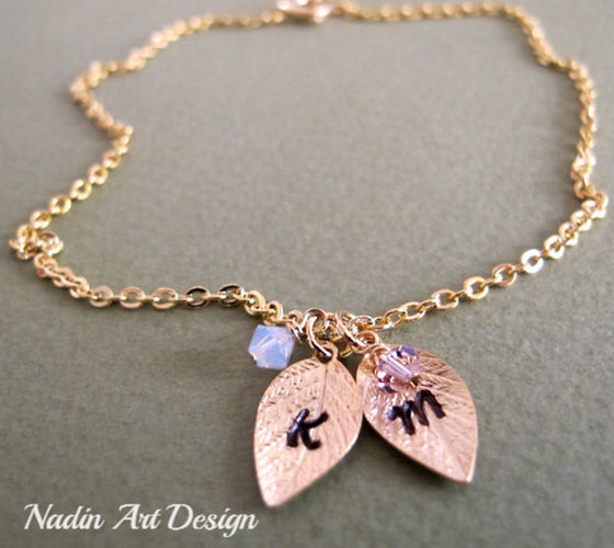 Gold Leaves Birthstone Necklace