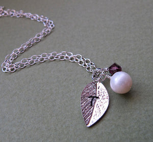 Pearl Necklace - Leaf Charm Bridesmaid Necklace