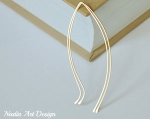 Petal long gold earrings