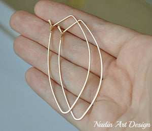 Gold petal hoop earrings - Leaf Hoops