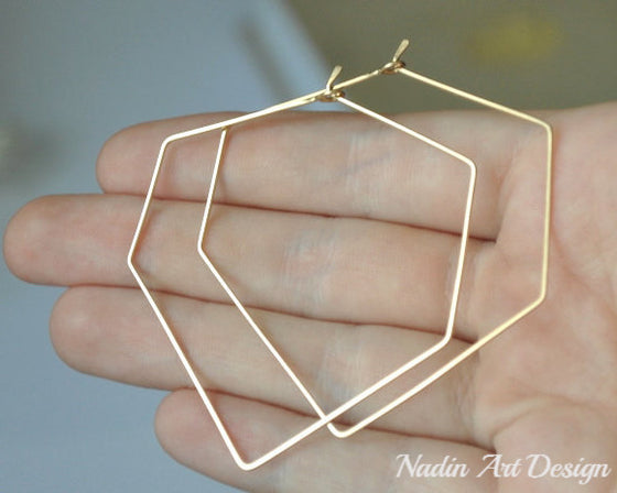 Hexagon Gold Earrings