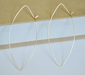 Marquise Hoop Earrings - Gold Leaf Hoops