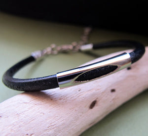 Adjustable Black / Brown Mens Bracelet
