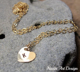 Initial Charm heart gold necklace