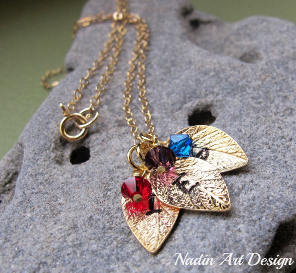 Leaf and crystal charm necklace