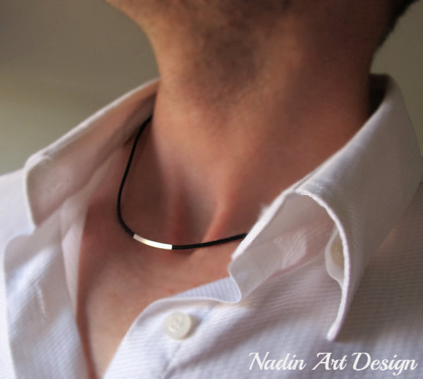 Tube Leather Cord Necklace for Men
