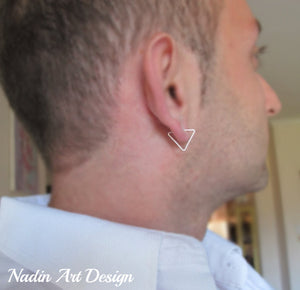 Triangle silver earring for men