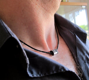 Fish Charm Men's Black Necklace