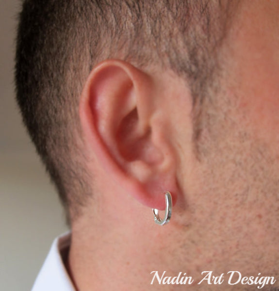 Sterling silver earring for men